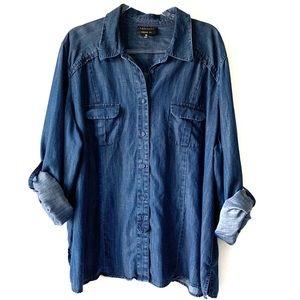 Foxcroft Blue Chambray Roll Tab Sleeve Shirt 22W